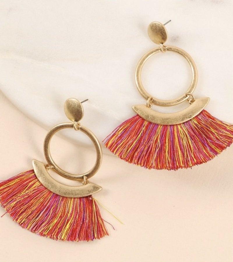 Red Multi Thread Tassel Earrings