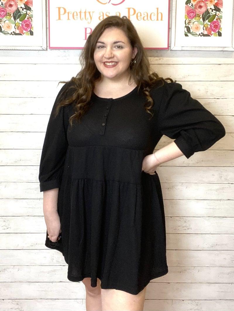 Umgee Black Waffle Tiered Dress