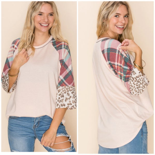 LAST CHANCE FINALSALE Blush Plaid Animal Print Sleeve Top