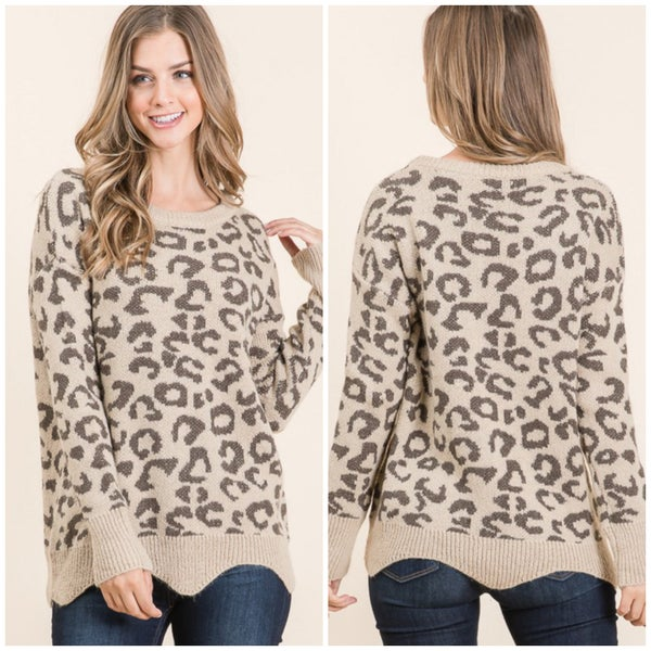 LAST CHANCE FINALSALE Taupe Animal Print Sweater