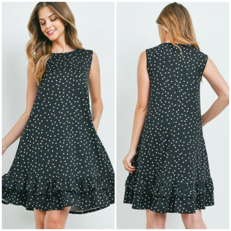 Black Polka Dot Ruffle Pocket Dress