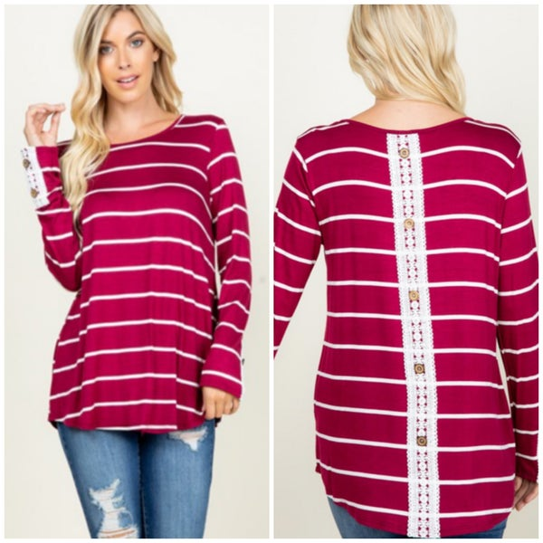 Wine Striped Button Top