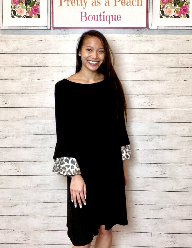 Black Animal Print Ruffle Sleeve Dress