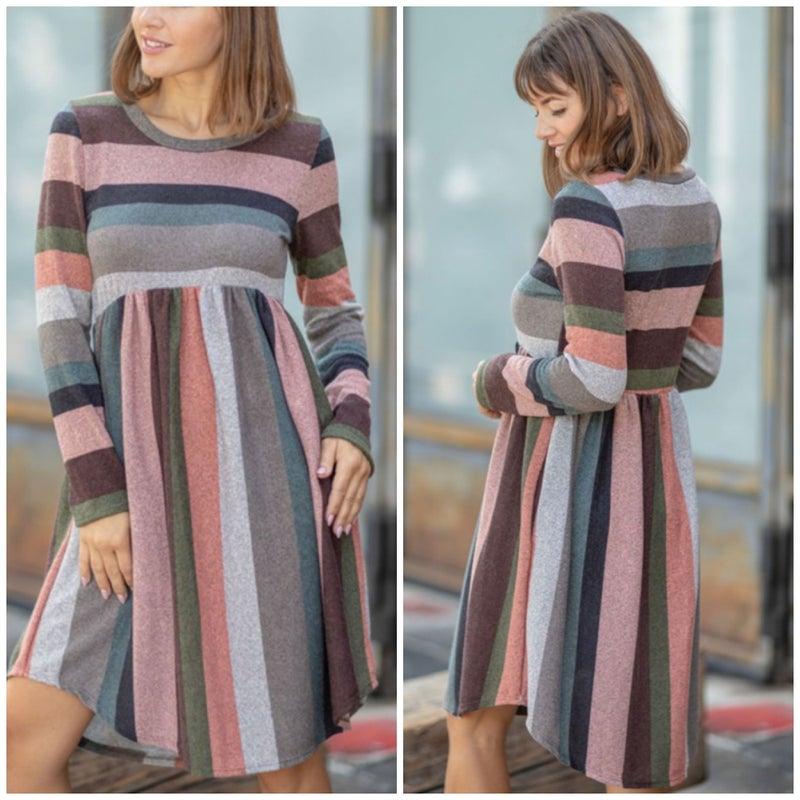 Mocha Multi Striped Pocket Dress