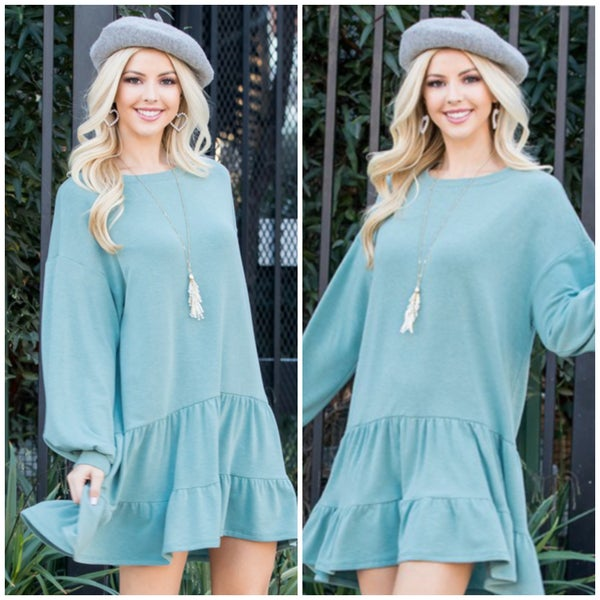 Sage Ruffle Dress