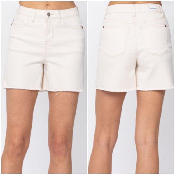 Judy Blue White Side Slit Shorts