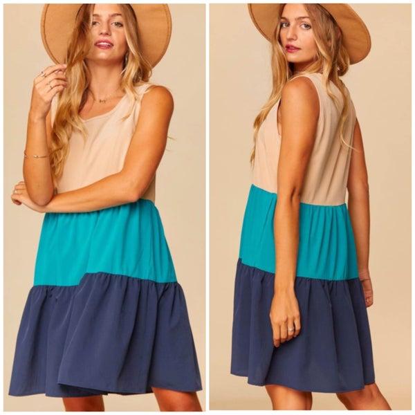 Tan & Blue Tiered Pocket Dress