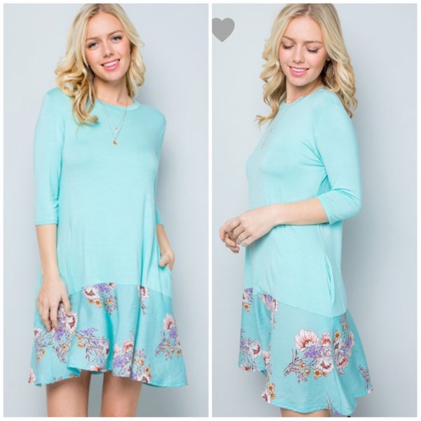 FINALSALE Aqua Floral Ruffle Bottom Pocket Dress