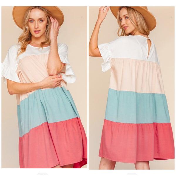 Multi Color Block Dress