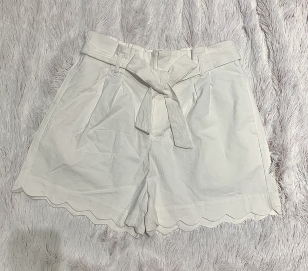 FINAL SALE White Scalloped Shorts
