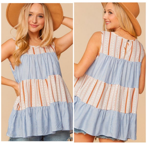 Bohemian Striped Tiered Top