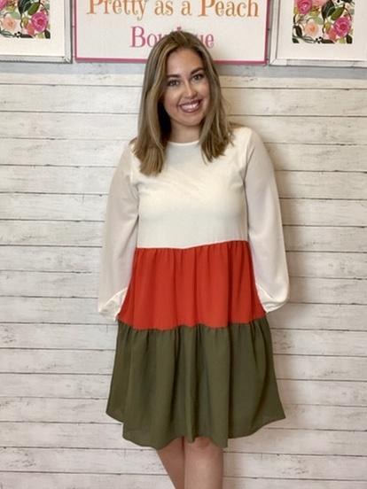 Cream Color Block Dress