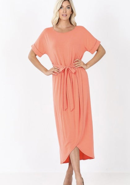 Coral Belted Tulip Dress