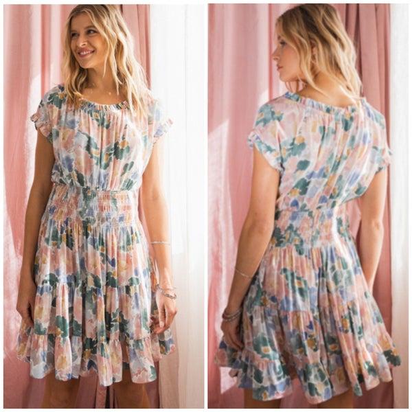 Mauve Floral Print Ruffle Dress
