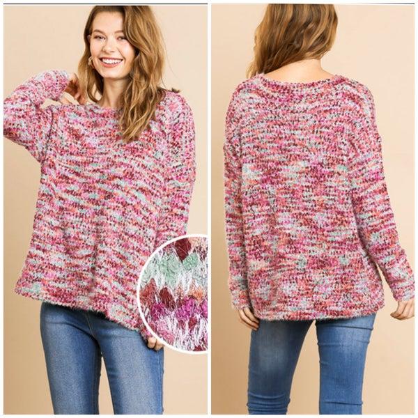 Umgee Multicolor Popcorn Sweater