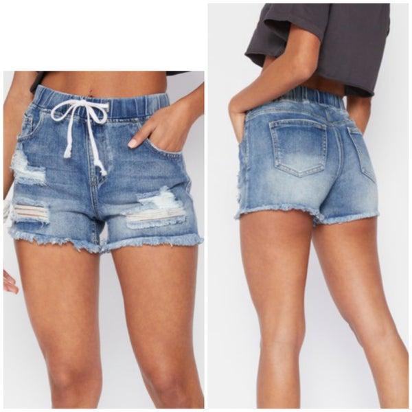 Medium Wash Distressed Jogger Shorts