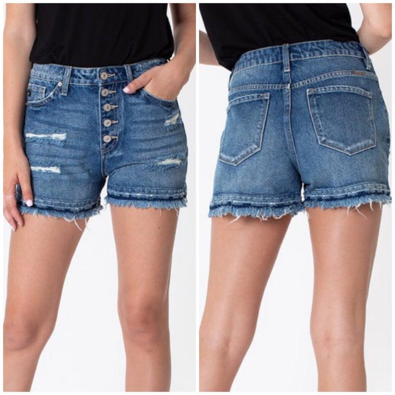 KanCan High Rise Distressed Button Shorts