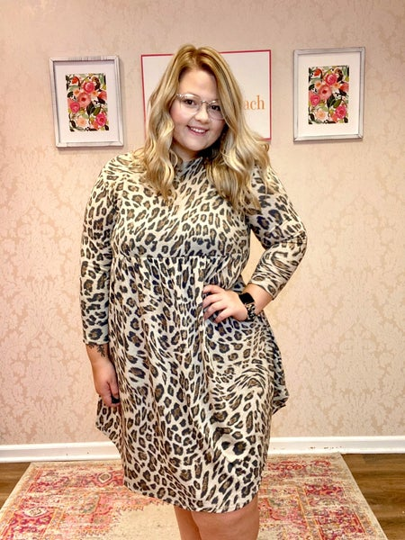 LAST CHANCE FINALSALE Animal Print Babydoll Dress