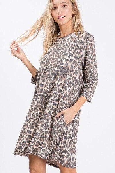 LAST CHANCE FINALSALE Brown Animal Print Pocket Dress