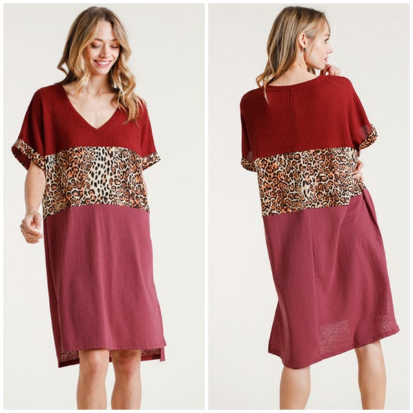 Umgee Wine Animal Print Dress