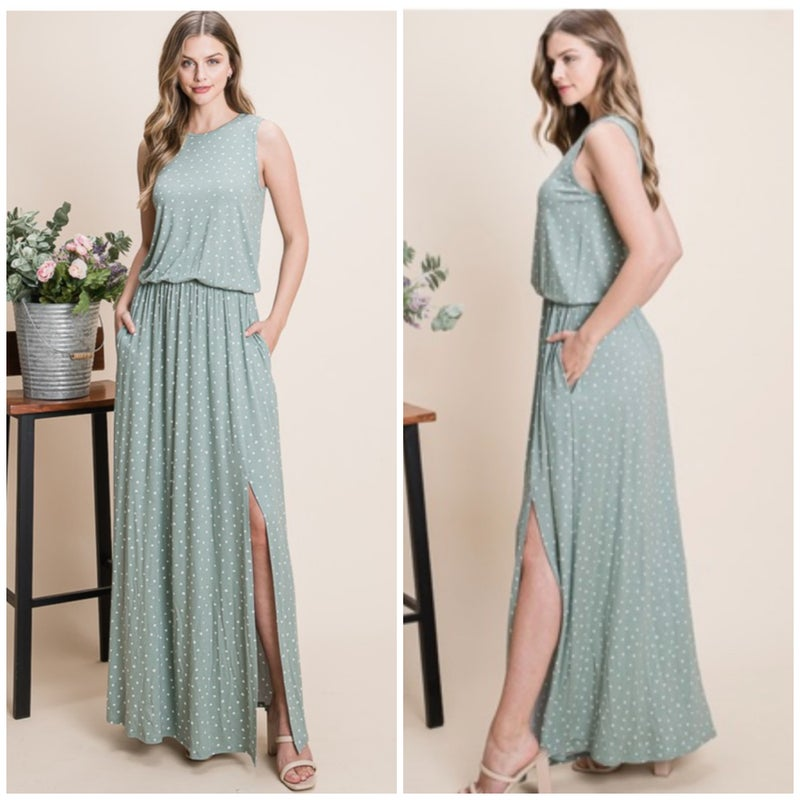 Sage Polka Dot Pocket Maxi