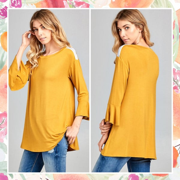 DEAL OF THE DAY Mustard Ruffle Sleeve Top