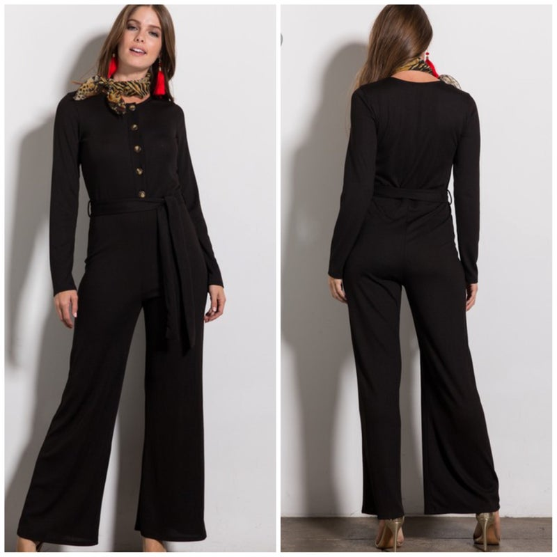 LAST CHANCE FINAL SALE Black Jumpsuit with Tie Belt