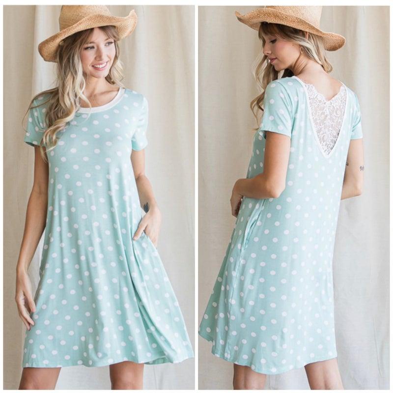 Sage Polka Dot Lace Dress