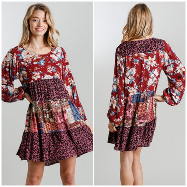 Umgee Wine Floral & Animal Print Mix Dress