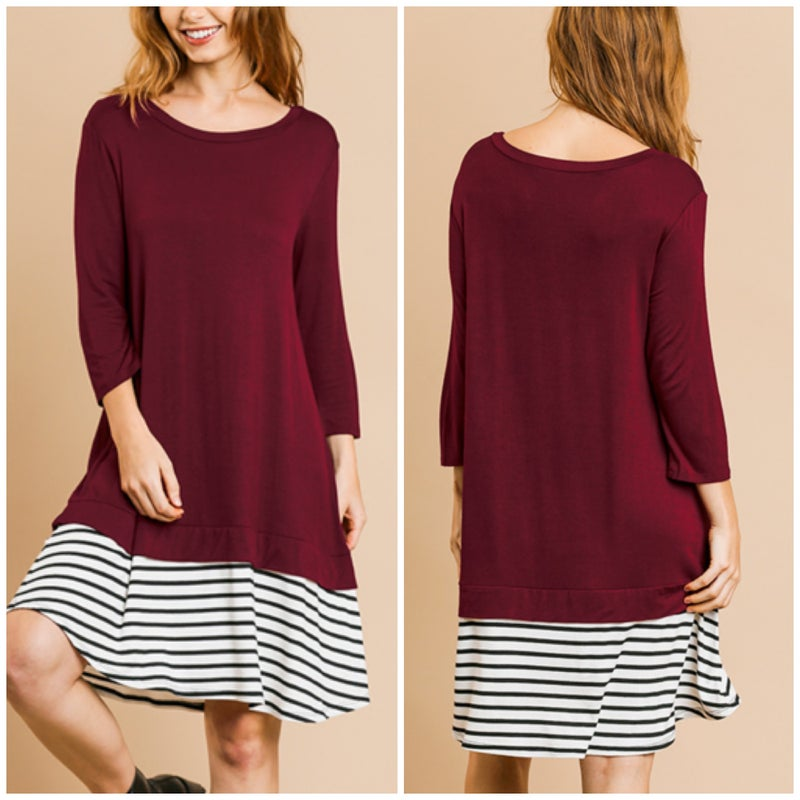 Umgee Wine Striped Dress