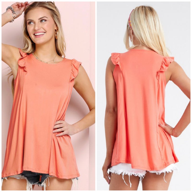 Coral Ruffle Sleeve Top