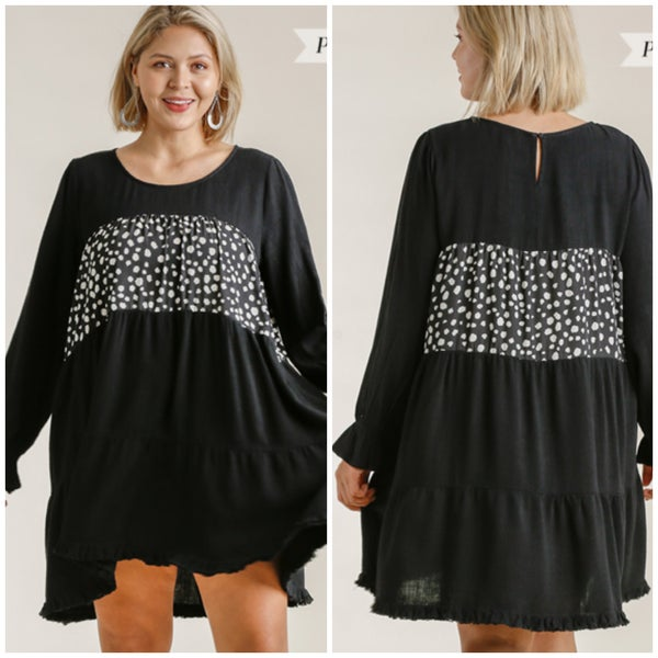 Umgee Black Dalmatian Print Tunic Dress