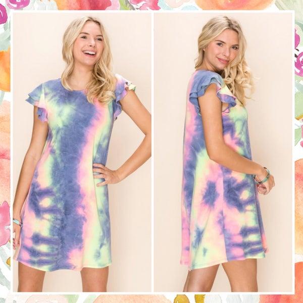 Pink Multi Tie Dye Ruffle Sleeve Dress