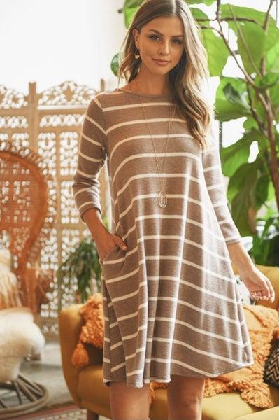 Mocha Striped Pocket Dress