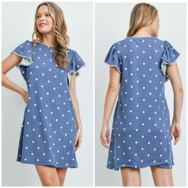Blue & White Polka Dot Pocket Dress