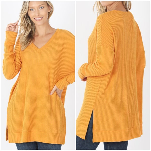Deal of the Day V Neck Waffle Knit Tunic