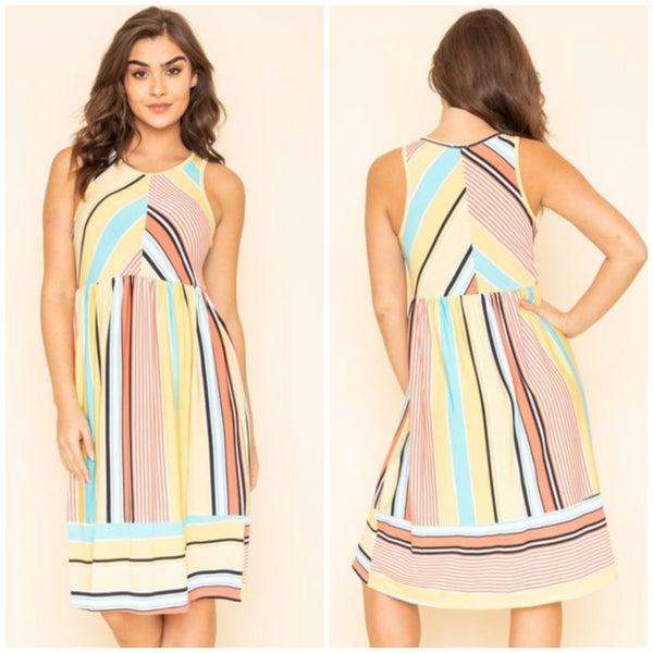 Yellow Multi Striped Dress