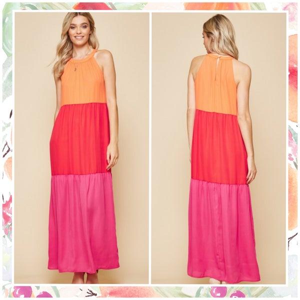 FINALSALE Multi Color Block Maxi Dress
