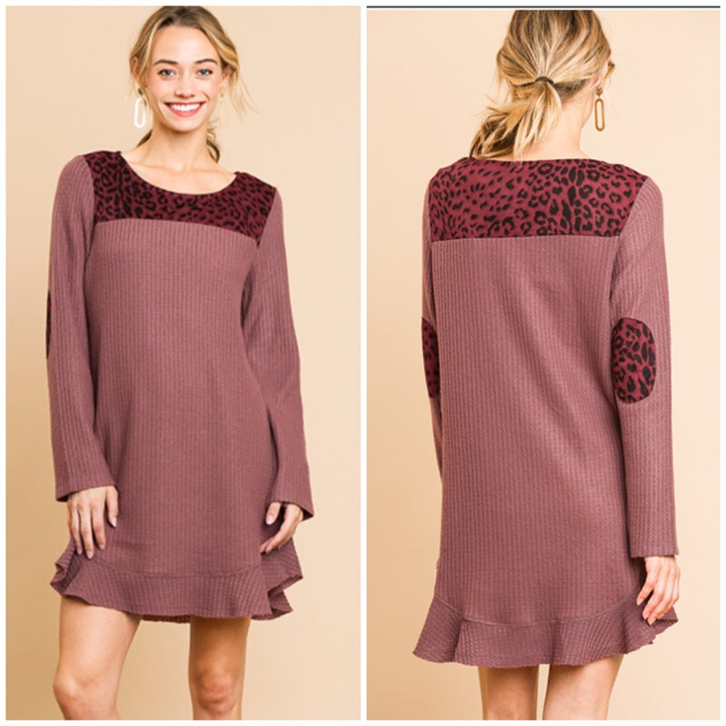 LAST CHANCE FINALSALE Umgee Wine Waffle Animal Print Dress