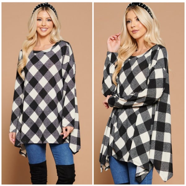 FINAL SALE Black & White Buffalo Plaid Tunic