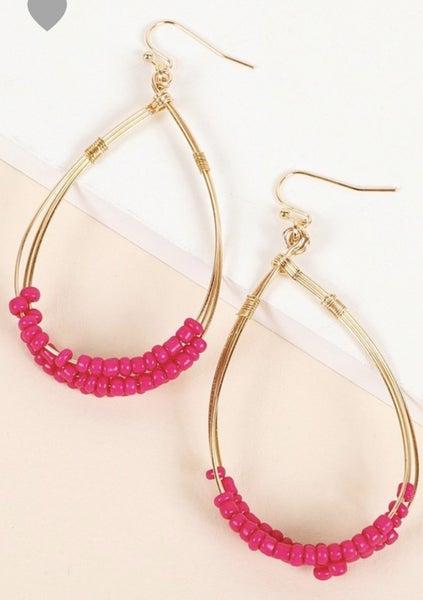 Fuchsia Beaded Gold Earrings