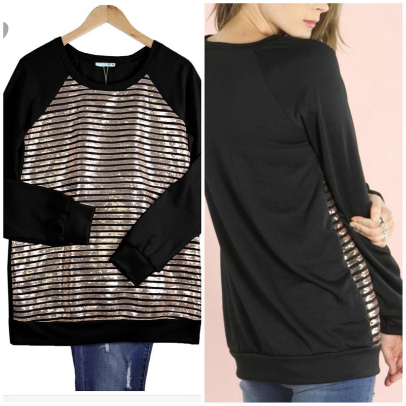 FINAL SALE Black Sequins Top