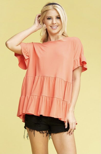 Coral Tiered Ruffle Sleeve Top