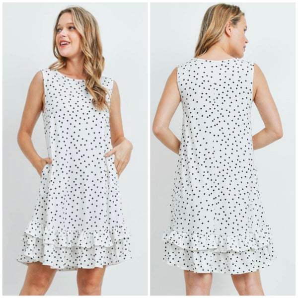 White Polka Dot Ruffle Dress