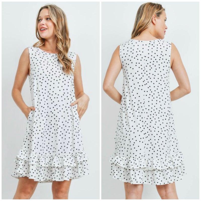 White Polka Dot Ruffle Dress