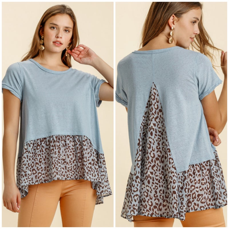 LAST CHANCE FINALSALE Umgee Blue Animal Print Top