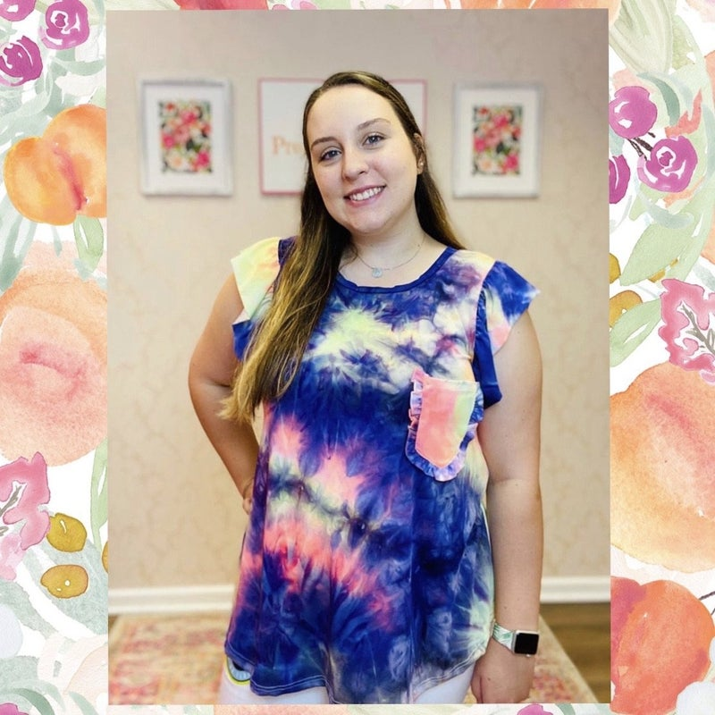 FINAL SALE Pink Multi Tie Dye Ruffle Pocket Top ASHE