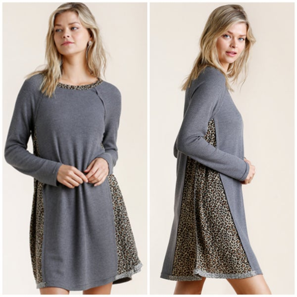 Umgee Charcoal Animal Print Waffle Dress