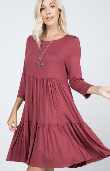 Marsala Tiered Dress