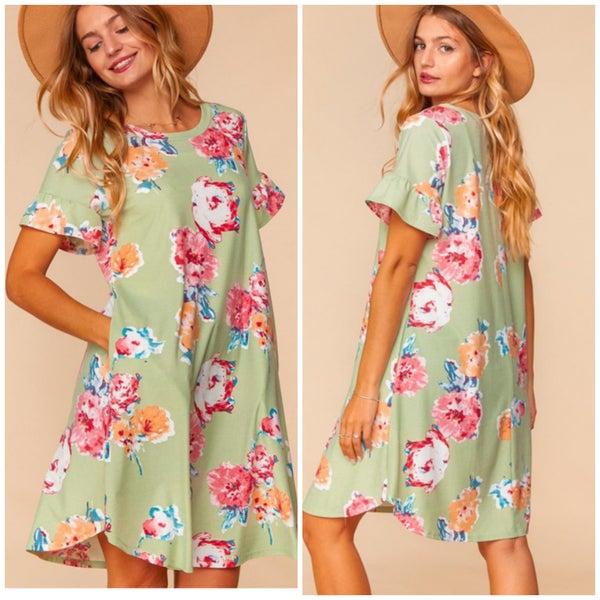 Sage Floral Ruffle Sleeve Pocket Dress